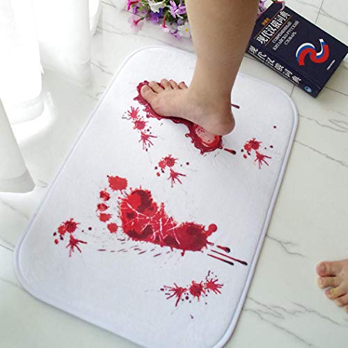 Clearance Sale!Deesee(TM)Blood Footprint Bath Mat Door Mat Scary Horror Style Halloween Decoration Hot