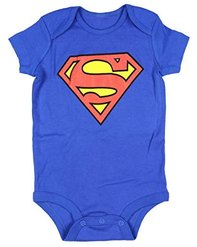 DC Comics Superman Onesie Romper (6-12 Mo Md, Blue)