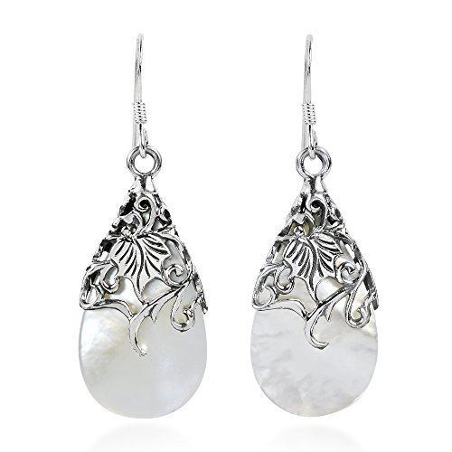 Floral Vine Ornate Teardrop White Mother of Pearl .925 Sterling Silver Dangle Earrings