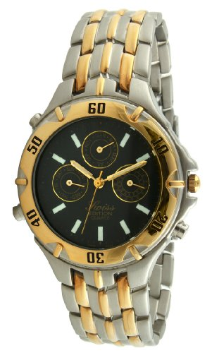 Swiss Edition Men's Two Tone Silver & 23K Gold Plated Multifunction Black Dial Gold Sports Bezel Dress Watch SE3611-CH ()
