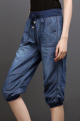 Les Darkblue Pantalon De Lacets Pantalons Harem Capris Denim Forme Rguliers Se fURrfF