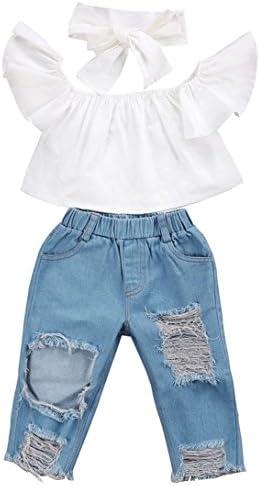 LITTLE-GUEST Girls Blue Jeans Kids Clothes Drawstring Waistband Denim Shorts G305