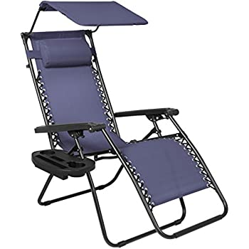 best choice products folding zero gravity recliner lounge chair w canopy shade u0026 magazine cup holdernavy blue