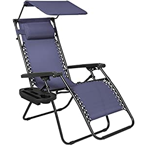 Best Choice Products Zero Gravity Chair with Canopy Sunshade - Navy Blue