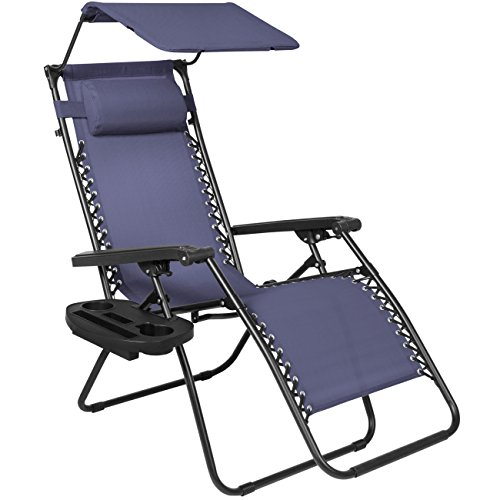 Best Choice Products Folding Zero Gravity Recliner Lounge Chair W/Canopy Shade & Magazine Cup Holder-Navy Blue