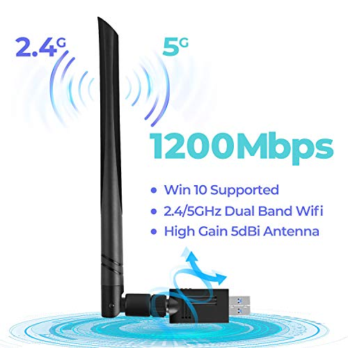 USB WiFi Adapter 1200 Mbps USB Wireless Network Adapter with Dual Band 2.4GHz/300Mbps+5GHz/866Mbps 5dBi Antenna for Desktop Windows XP/Vista/7/8/10 Linux Mac (Usb Wifi Card)