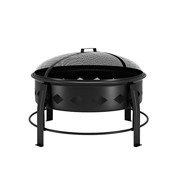 "Regal Flame Cosmic Flame 27"" Portable Outdoor Fireplace Fire Pit for Backyard Patio Fire Bowl, Includes Safety Mesh Cover, Poker Stick, Great for Camping, Outdoor Heating, Bonfire, Picnic - 26.8"" FIRE PIT WITH SCREEN (DECORATIVE BASE) - Stay warm outdoors with incredible ambiance - Firepit comes complete with safety mesh screen, wood grate, and poker tool. 26.8"" (Diameter) x 19.7"" (Height) GREAT FOR ANY OCCASION - Suitable for backyard, outdoor entertaining, bonfire pit, RV trips, camping, tailgating, beach, parties, BBQ's, relaxing, chilly evenings - Complements any outdoor patio style (modern, southwestern, countryside, beach side, and more) HEAT RESISTANT - High-temperature heat-resistant finish - Mesh fire screen cover keeps fired contained safely with terrific view of the flames - Prevents sparks, embers, flying debris - Can be used with charcoal, wood, Logs, etc - patio, outdoor-decor, fire-pits-outdoor-fireplaces - 41Rcd4KMYYL. SS570  -"