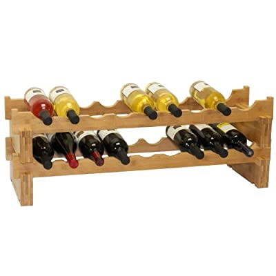 Oceanstar 18-Bottle Stackable Bamboo Wine Rack