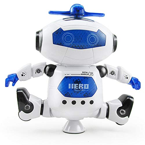 Best Gift for Kids Dancing Musical Space Spin Robot Electronic Robot,with Flashing Colorful Lights and Happy Music Battery Operated