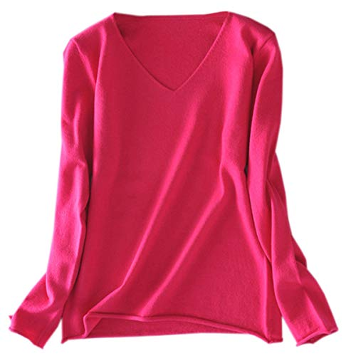 Women's Cashmere Blend V-Neck Knit Pullover Sweater Tops, Solid Long Sleeve Knitted Sweaters for Women, Hot Pink, US Small = Tag L
