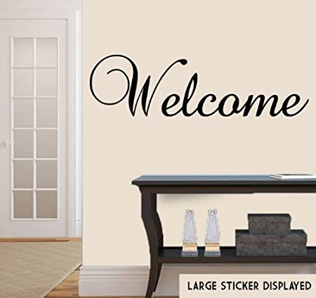 Welcome Wall Banner Wall Art Vinyl Stickers - Black - Medium 58cm x ...