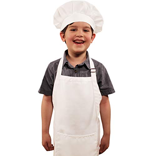Dapper&Doll Kids Apron and Chef Hat - Ages 4-10 - White