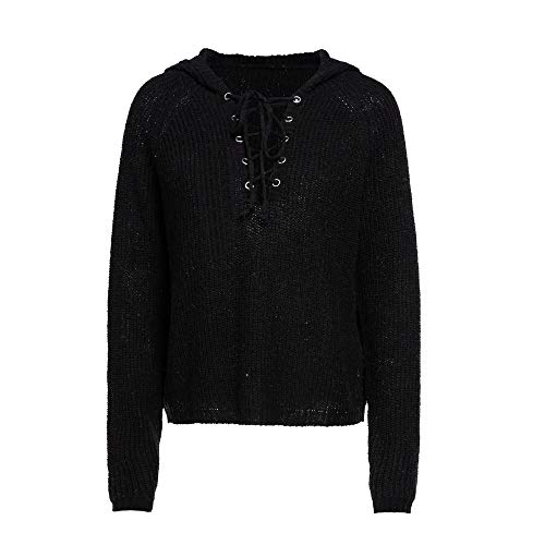(Womens Sweaters,Tops for Women Winter Baggy Lace Up Coat Chunky Knitted Oversized Hooded Sweater Jumper(M,Black))
