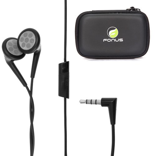 OEM Blackberry 3.5mm Stereo Handsfree Headphones Dual Earbuds + Headset Carrying Case for HTC Droid DNA, Vivid, Evo V 4G, One Mini (Htc Dna Speaker Replacement)