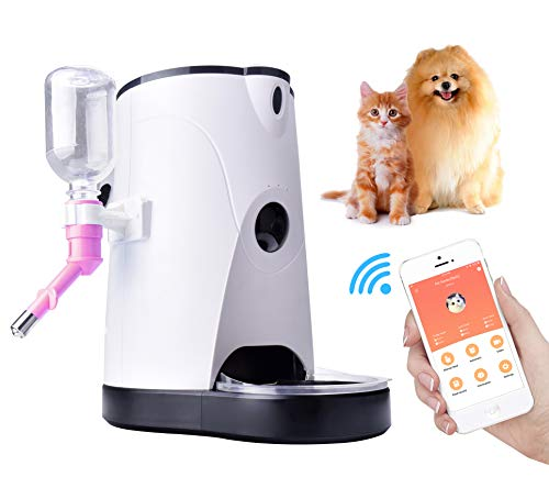 Automatic Cat Feeder Food Water Dispenser – VANZAVANZU 2018 New Design Auto Feeder with Real-Time HD Night Vision Camera Speaker for Dogs and Cats Feeder Automatic with Timer Controlled by Smartphone
