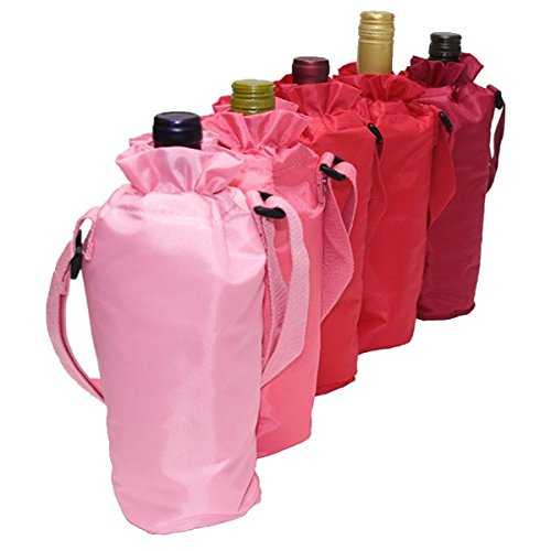 Set of 5 Sachi Insulated Single Wine Bottle Bag Multi Colored Drawstring Tote Carrier Byob