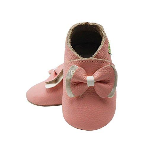 Sayoyo Suaves Zapatos De Cuero Del Bebé Zapatillas arco rosa