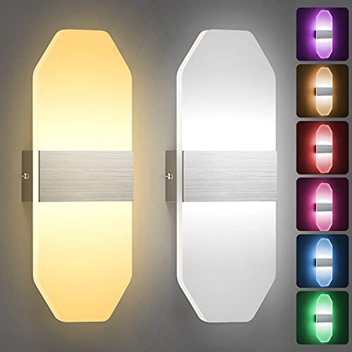 JIRVY Wandleuchte Innen LED Intelligente Bluetooth APP Wandleuchte 12W RGB+CCT Dimmbar 2 Stücke Acryl Modern Wandlampe für Wohnzimmer Treppenhaus Schlafzimmer Flur