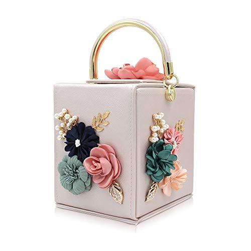 Fiore Confezione Tote Quadrato Con La Ricamo Con Per Semplice FFLLAS Fashion 7 Perla Sacchetto Cena Per pXTCTq
