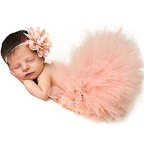 Photography Prop Baby Infant Lovely Costume TuTu Dress Flower Headband Pink