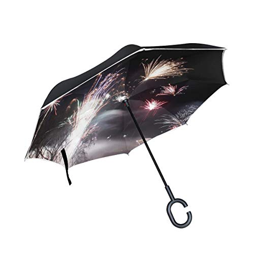 Fireworks Rocket (Double Layer Inverted Fireworks Rocket New Years Eve Night Sky Umbrellas Reverse Folding Umbrella Windproof Uv Protection Big Straight Umbrella for Car Rain Outdoor with C-Shaped Handle)