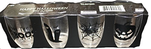 Tequila Shot Girl Costumes (Set of 4 different designs 2.1 Fl Oz Tequila Shot Glasses, Great for Halloween Party decoration)