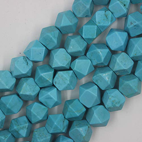 (13-17mm Faceted Polyhedral Blue Turquoise Beads Loose Gemstone Beads for Jewelry Making Strand 15 Inch (25-27pcs))