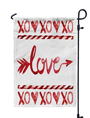 ROOLAYS Outdoor Seasonal Garden Flags Stands Love Arrow Lollipop Heart Watercolor in Red Color Valentine Day Amor Double Sided Colorful Holiday Yard Flag 12X18 inches