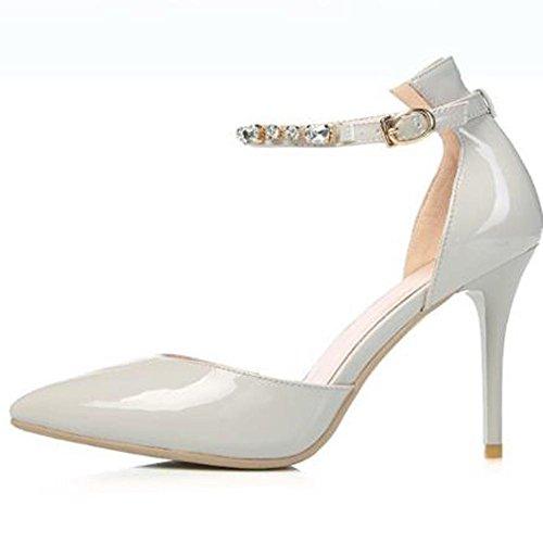 L@YC Frauen High Heels Spitz Hausschuhe Office & Professional Party Abendkleid Pumps Gray