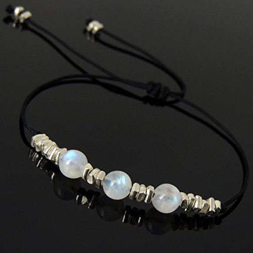 Men and Women Adjustable Braided Drawstring Bracelet Handmade with 6mm Natural AA Flashing Moonstone & Genuine 925 Sterling Silver Nugget Beads from (Moonstone Nugget)