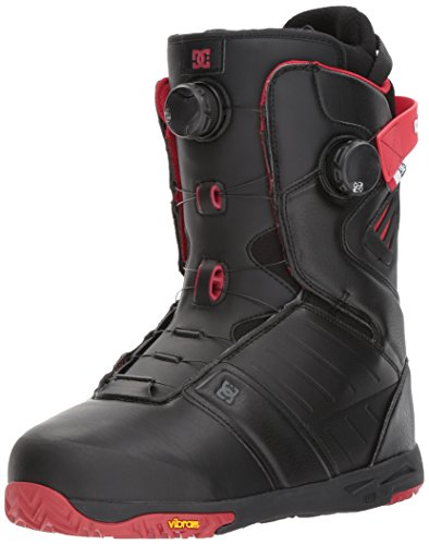 DC Men's Judge Dual Boa Snowboard Boots, Black/Chili Pepper, 11