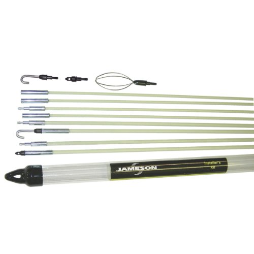 (Jameson 7-8-IK Installer's Glow Rod Wire Electrical Fishing Kit with Accessories and 35 Total Feet of Fiberglass Rod)
