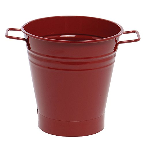 Houston International 8135E XR 7-Inch Steel Planter, Red