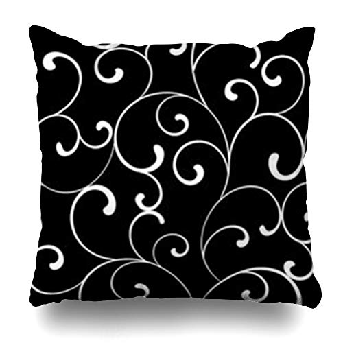 - Aika Designs Throw Pillows Covers Pillowcase Line Pattern White Swirls On Black Abstract Damask Antique Vintage Royal Classic Retro Whiteabstract Home Decor Zippered 20