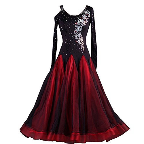Ballroom Dance Dresses Rhinestone Competition Dresses Modern Waltz Tango Smooth Ballroom Dance Costumes for Women(Red,2XL) ()