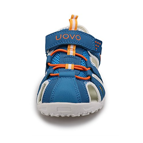 Zaone Kinder Sport Outdoor Sandalen Jungen & Mädchen Trekkingsandalen Strand Schuhe mit Klettverschluss - Vorne Geschlossen Gr. 24-38 Blau