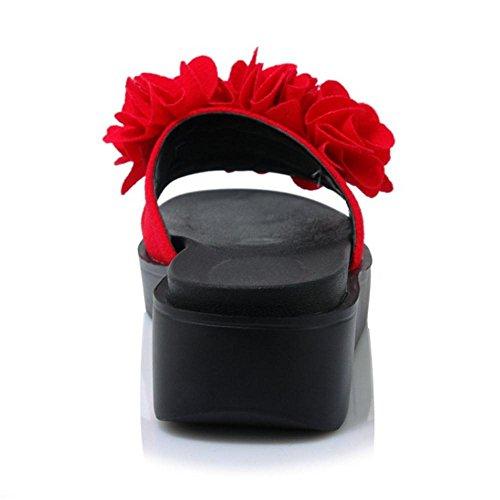 Taoffen Kvinners Plattform Muldyr Sandaler Røde