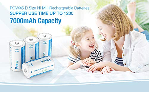 POWXS 7000mAh D Cell Rechargeable Battery Pre-Charged D Size 1.2V Ni-MH Battery - 4 Pack