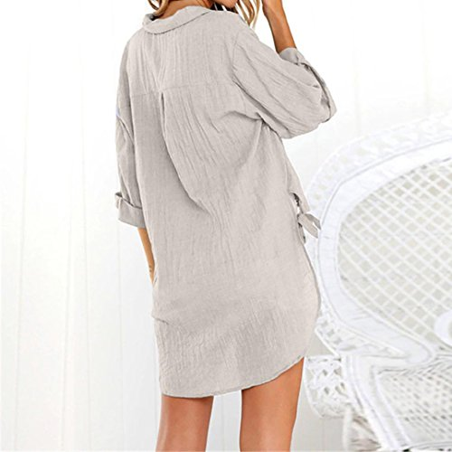 Lache Robe Femmes Longue Mini Blouse T Shirt Dames Haut Casual Bringbring Uni Kaki Chemisier Bouton Rq8qt