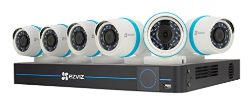 EZVIZ FULL HD 1080p Outdoor IP PoE Surveillance System, 6 Weatherproof HD Security Cameras, 8 Channel 2TB NVR Storage, 100ft Night Vision, Customizable Motion Detection by EZVIZ
