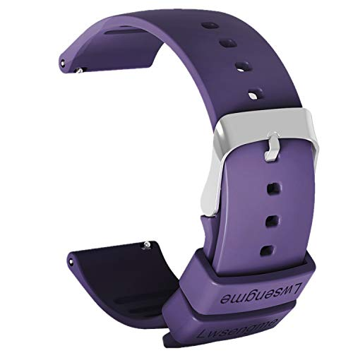 Lwsengme Silicone Watch Replacement Band with Quick Release-Choose Color & Width (20mm,22mm) & Length-Soft Rubber Watch Strap (Purple, 20mm)