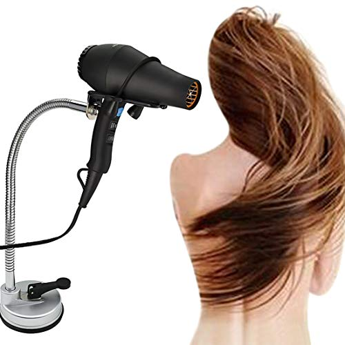 Hair Dryer Stand Holder , Stainless Steel 360 Degree Rotating Lazy Hair Dryer Stnad with Suction Cup, Hands Free Blow Dryer Holder Countertop
