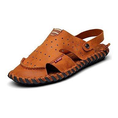 Zapatos de hombre exterior / Oficina &Amp; carrera atlética / / / vestimenta casual sandalias de cuero Nappa / Marrón Flip-Flops Brown
