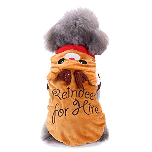 YOMXL Fashion Christmas Reindeer for Hire Dog Clothes Puppy Dress Soft Comfortable Holiday Festival Pet Apparel ()