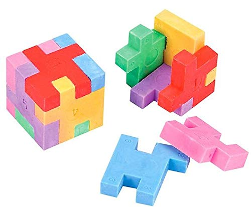 Neliblu Fun Puzzle Eraser Cubes, Colorful Pencil Eraser (12 Pack) School Supplies - Ideal for Kids for Back to School - Party Favors - Fidgets - Pocket Size Brain Teaser - Goody Bag Fillers