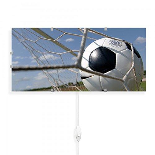 banjado - Wandlampe 56cmx26cm Design Wandleuchte Lampe LED mit Wechselscheibe und Motiv Fußball, Wandlampe mit 2x 6W LED Leuchtmittel
