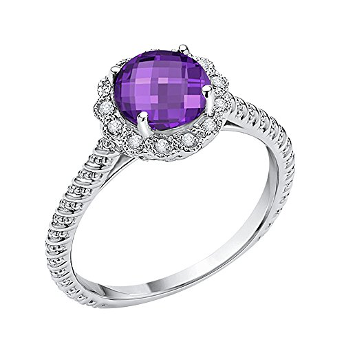 Diamond and Amethyst Fashion Ring in 10K White Gold (1 1/2 cttw) (GH Color, I2-I3 Clarity) (Size-10)