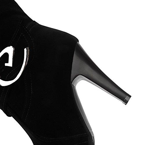 Amoonyfashion Femmes Hauts Talons Solide Ronde Fermée Bout Fermé Givré Bottes À Enfiler Noir