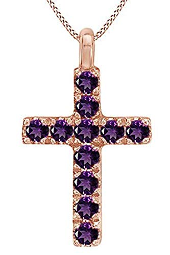 AFFY Round Cut Simulated Amethyst Cross Pendant Necklace in 14k Rose Gold Over Sterling Silver