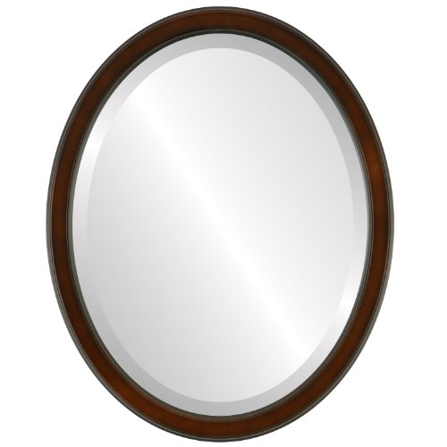 Decorative Mirror for Wall | Framed Oval Beveled Wall Mirror | Toronto Style - Walnut - 22x26 outside dimensions (Toronto Bedroom Above Store 1)